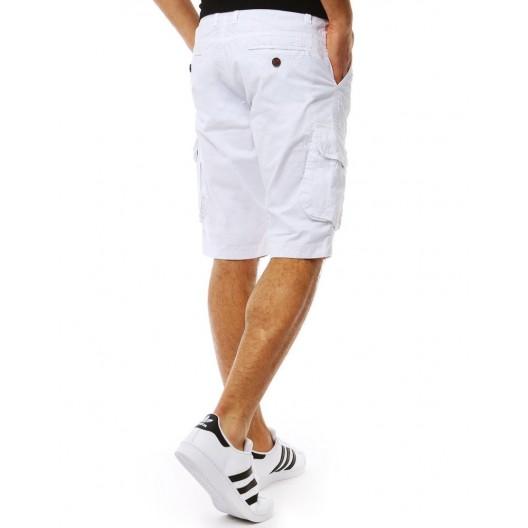 Športové pánske biele kraťasy s trendy bočnými vrackami