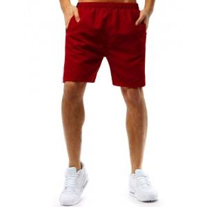 Červené pánske letné kraťasy s bočnými vreckami bielym bočným pásom