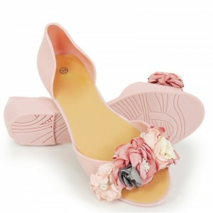 Originálne dámske ružové baleríny s otvorenou špičkou a kvietkami