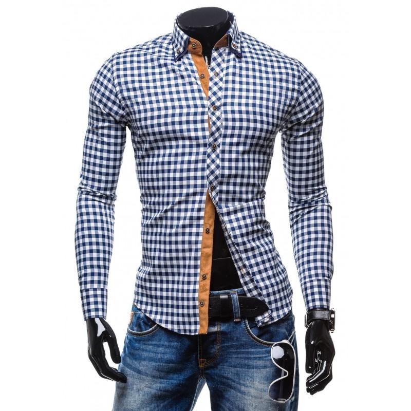 ae4eccff87de Športové pánske kárované košele modrej farby s dlhým rukávom ...