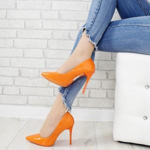 Elegantné dámske oranžové lakované lodičky na vysokom úzkom opätku