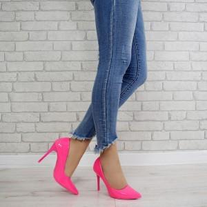 Štýlové dámske neónovo ružové lodičky s vysokým opätkom