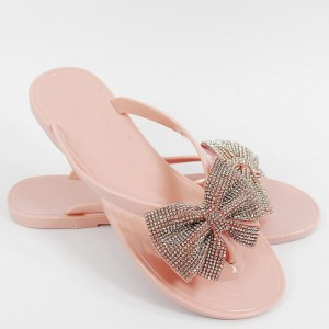 Dámske ružové gumené šľapky s ozdobnou mašľou s kryštálikmi