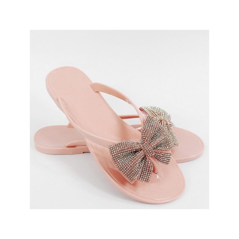 e4219ae650 Dámske ružové gumené šľapky s ozdobnou mašľou s kryštálikmi