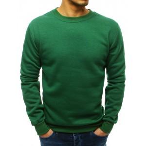 Jednoduchá pánska zelená mikina bez kapucne