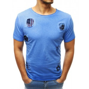 Krásne modré bavlnené pánske tričko s dierami a nášivkami