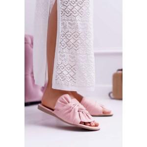 Dámske letné ružové semišové šľapky s veľkou mašľou