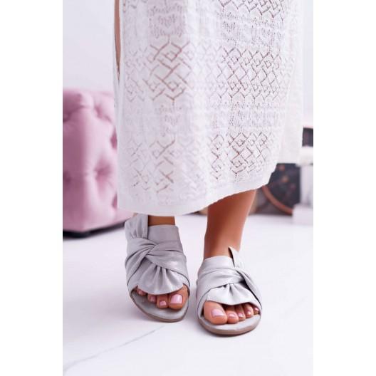Štýlové dámske šľapky v sivej farbe s mašľou