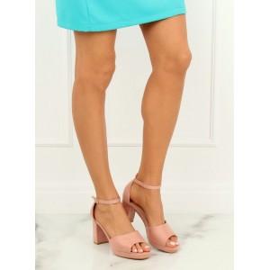 acefd8b6db6e Púdrovo ružové dámske sandále s voľnou špičkou a na vysokom opätku