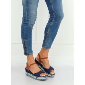 Tmavo modré dámske rifľové sandále na platforme a ozdobnou mašľou