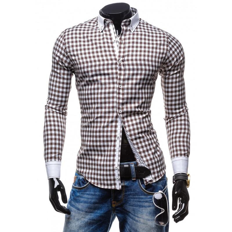 827eae8a11 Hnedá károvaná pánska košeľa s dlhým rukávom - fashionday.eu