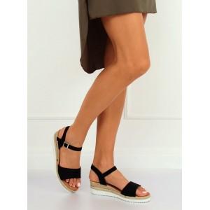 Čierne semišové sandále na leto na platforme s pletencom