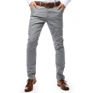 Elegantné pánske svetlo sivé nohavice mierne zúženého strihu