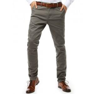 Moderné pánske tmavo sivé dlhé nohavice