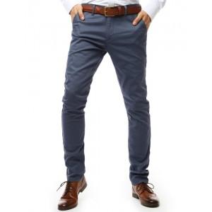 Originálne sivo modré pánske nohavice zúženého strihu