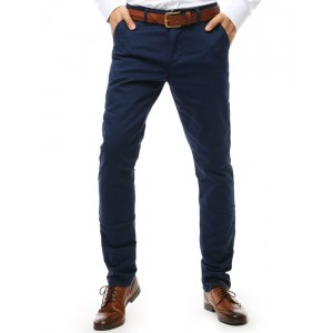 Spoločenské pánske slim nohavice v modrej farbe so zapínaním na zips