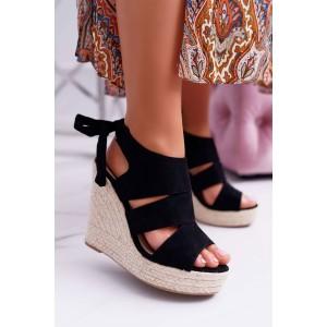 Elegantné dámske čierne semišové sandále s viazaním na mašľu