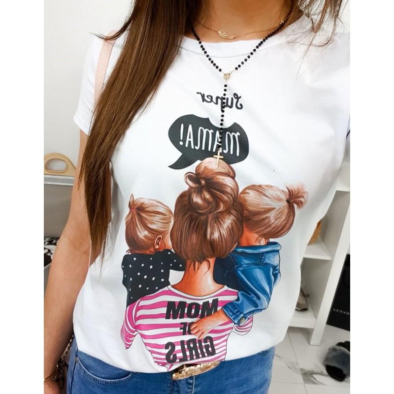 bc300ab35cdb Nádherné dámske biele tričko s potlačou MAMA OF GIRLS