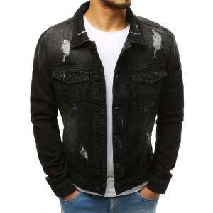 Pánska rifľová bunda v čiernej farbe s kapsami