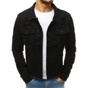 Pánska štýlová rifľová bunda v čiernej farbe