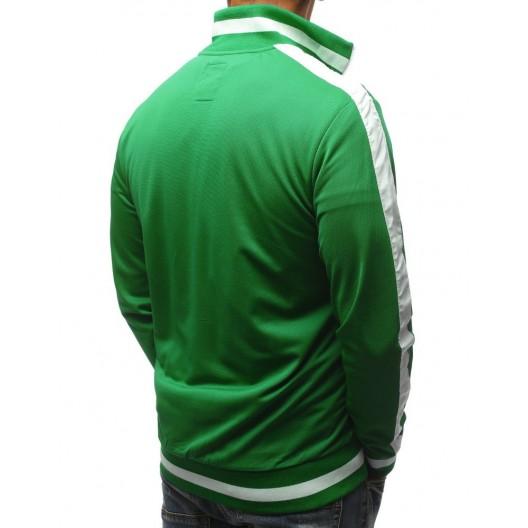 Športová pánska mikina na zips v zelenej farbe