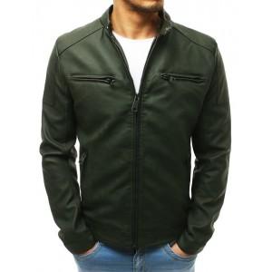 Kožená pánska bunda v zelenej farbe s odnímateľnou kapucňou