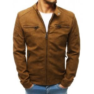 Kožená bunda v béžovej farbe na zips