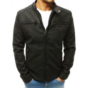 Kožená bunda s odnímateľnou kapucňou v čiernej farbe