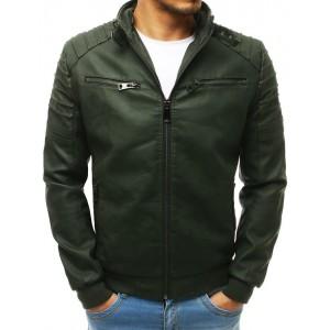 Pánska moderná kožená bunda v zelenej farbe s kapucňou