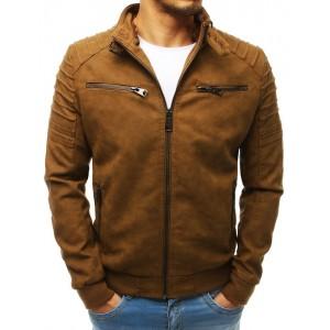 Pánska hnedá kožená bunda s odnímateľnou kapucňou
