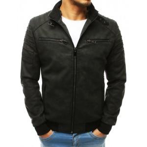 Moderná kožená bunda s odopínateľnou kapucňou v čiernej farbe