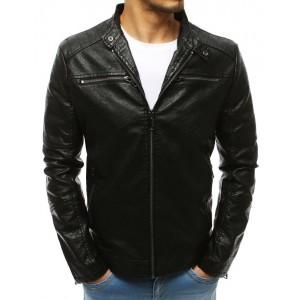 Pánska kožená bunda v čiernej farbe bez kapucne