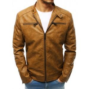 Hnedá kožená bunda so zapínaním na zips