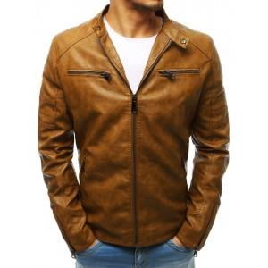 Kožená pánska bunda v hnedej farbe bez kapucne