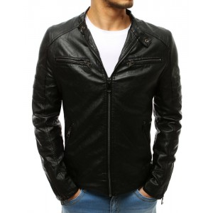 Štýlová kožená bunda na jar v čiernej farbe