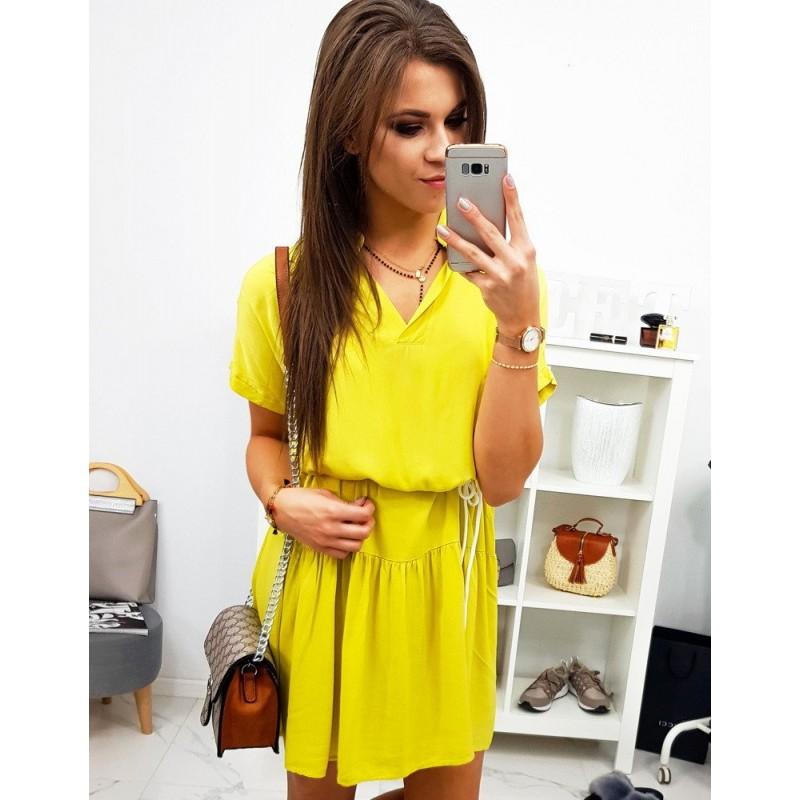 6918286e7c75 Dámske šaty s výstrihom v žltej farbe
