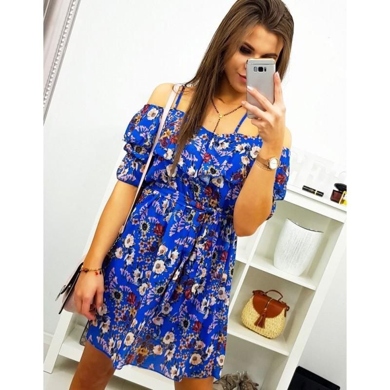 6fbaab1cd Kvetované dámske letné šaty v modrej farbe