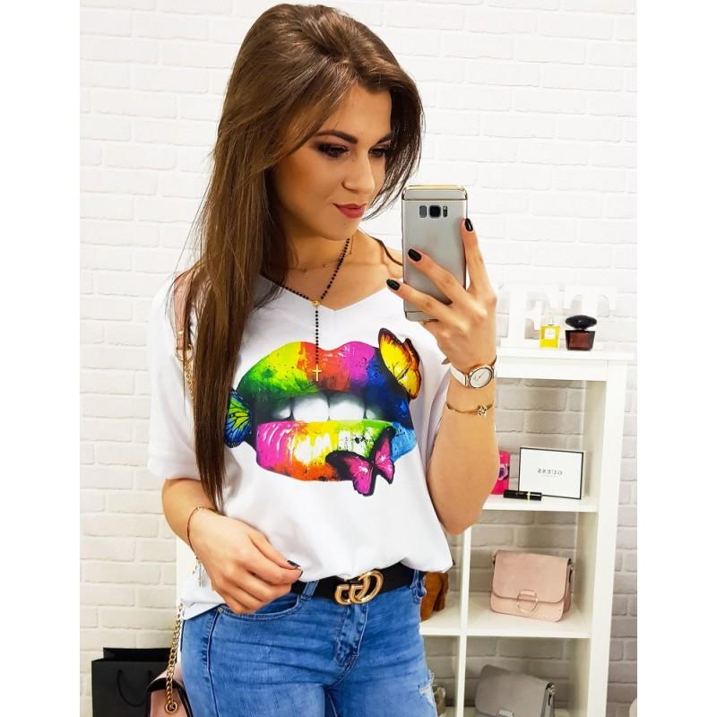 b1d0f32f3 Luxusné dámske oversize biele tričko s originálnou potlačou farebných pier