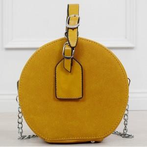 Trendy dámska žltá crossbody kabelky v módno okrúhlom tvare