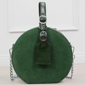 Originálna okrúhla dámska smaragdovo zelené crossbody kabelka