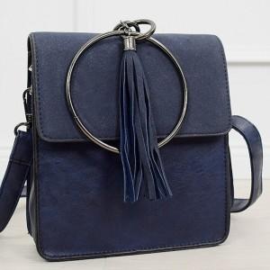 Moderná dámska tmavo modrá kabelka s trendy kovanou úchytkou do ruky