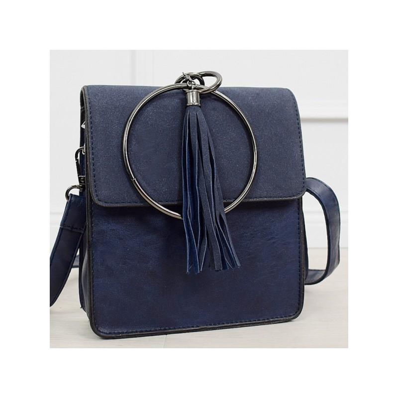 6bb057282f Moderná dámska tmavo modrá kabelka s trendy kovanou úchytkou do ruky