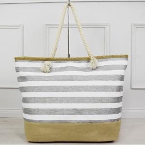 Bielo strieborná dámska taška pruhovaná na pláž s vnútorným vreckom