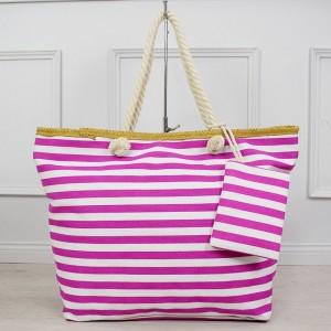 Štýlová dámska plážová taška fuchsiovej farby s vrecúškom