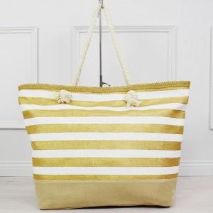 Štýlová bielo zlatá pruhovaná dámska kabelka na kúpaliská