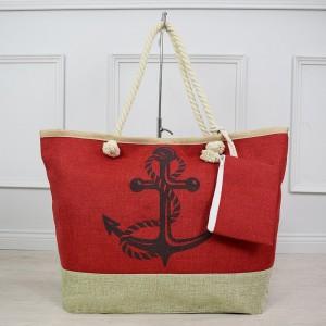 Letná dámska plážová červená taška na pláž s potlačou kotvy
