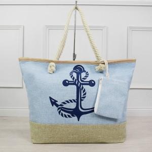 Svetlo modrá dámska plážová kabelka s vonkajším ozdobným vreckom