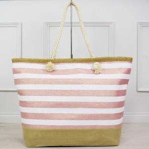 Svetlo ružová dámska letná taška s leskom na kúpaliská