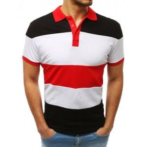 Módne pánske polo tričko s golierom s bielo čierno červenej kombinácii