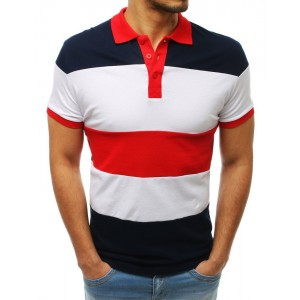 Tmavo modré pánske polo tričko s golierom a krátkym rukávom